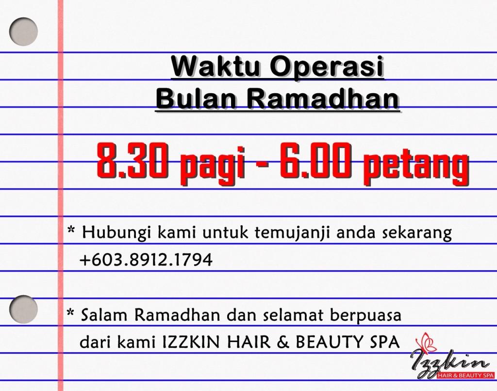 Notis waktu operasi bulan Ramadhan